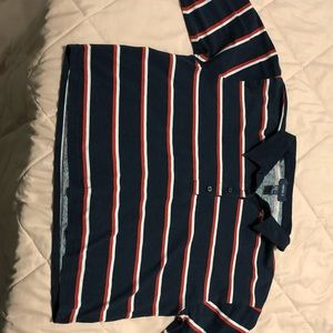 Forever 21 navy and striped long sleeve crop top